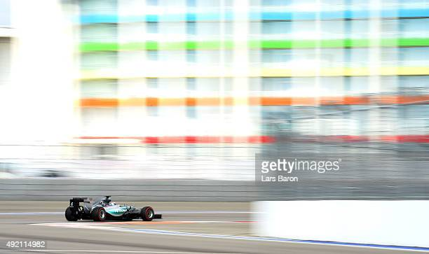 Lewis Hamilton of Great Britain and Mercedes GP drives during final practice for the Formula One Grand Prix of Russia at Sochi Autodrom on October 10...