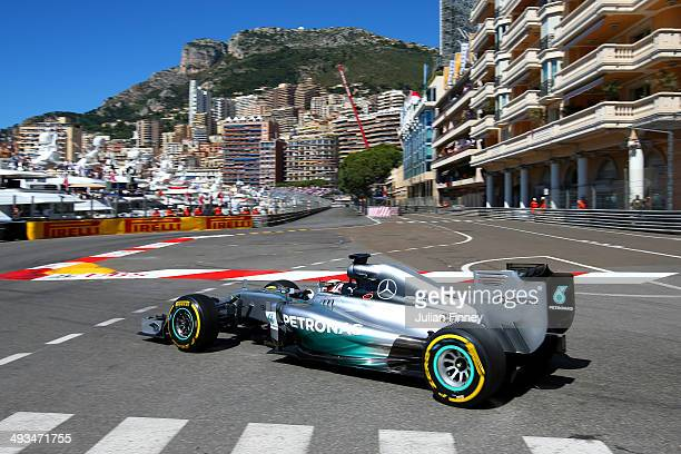 Lewis Hamilton of Great Britain and Mercedes GP drives during final practice ahead of the Monaco Formula One Grand Prix at Circuit de Monaco on May...