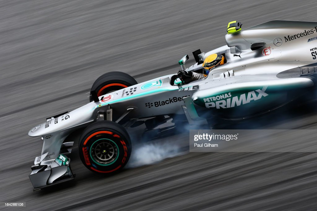 <a gi-track='captionPersonalityLinkClicked' href=/galleries/search?phrase=Lewis+Hamilton&family=editorial&specificpeople=586983 ng-click='$event.stopPropagation()'>Lewis Hamilton</a> of Great Britain and Mercedes GP drives during practice for the Malaysian Formula One Grand Prix at the Sepang Circuit on March 22, 2013 in Kuala Lumpur, Malaysia.