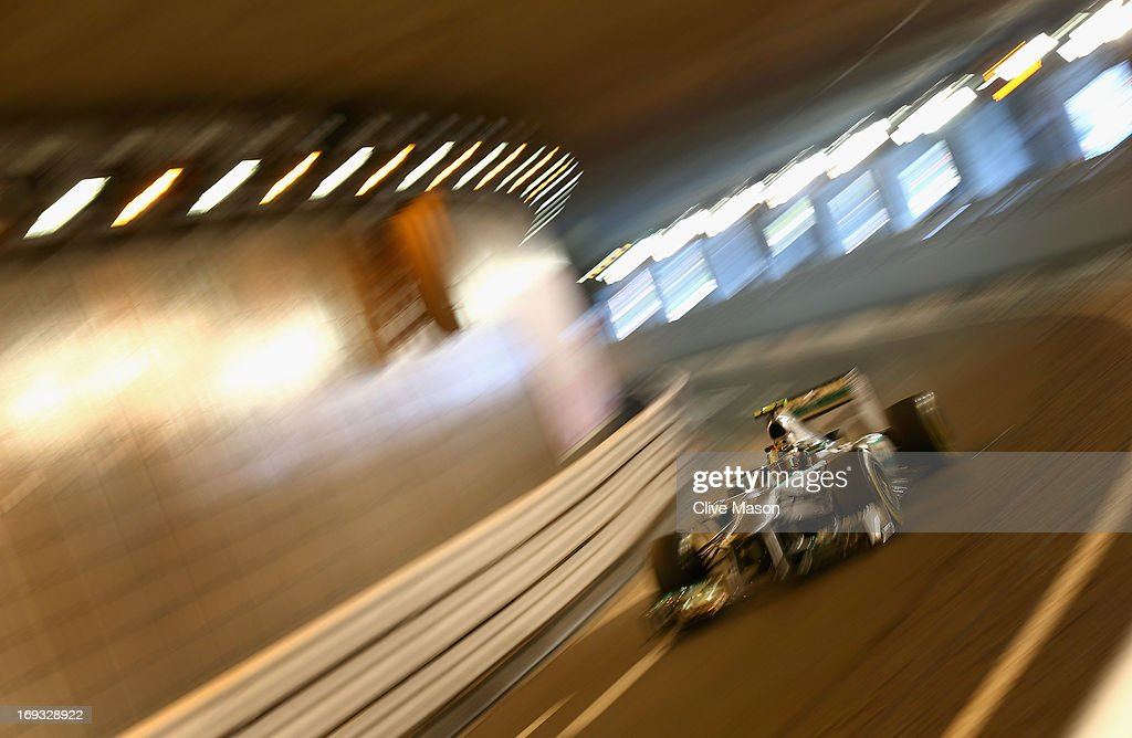 <a gi-track='captionPersonalityLinkClicked' href=/galleries/search?phrase=Lewis+Hamilton&family=editorial&specificpeople=586983 ng-click='$event.stopPropagation()'>Lewis Hamilton</a> of Great Britain and Mercedes GP drives during practice for the Monaco Formula One Grand Prix at the Circuit de Monaco on May 23, 2013 in Monte-Carlo, Monaco.