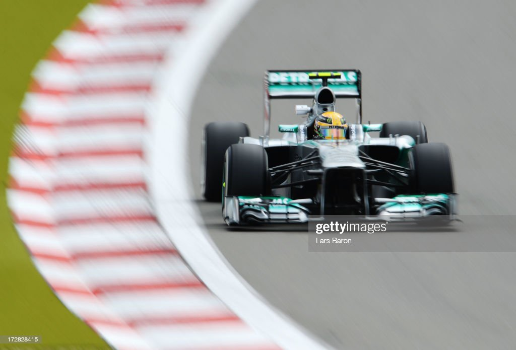 <a gi-track='captionPersonalityLinkClicked' href=/galleries/search?phrase=Lewis+Hamilton&family=editorial&specificpeople=586983 ng-click='$event.stopPropagation()'>Lewis Hamilton</a> of Great Britain and Mercedes GP drives during practice for the German Grand Prix at the Nuerburgring on July 5, 2013 in Nuerburg, Germany.