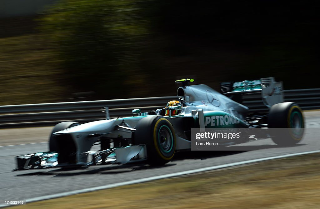 <a gi-track='captionPersonalityLinkClicked' href=/galleries/search?phrase=Lewis+Hamilton&family=editorial&specificpeople=586983 ng-click='$event.stopPropagation()'>Lewis Hamilton</a> of Great Britain and Mercedes GP drives during qualifying for the Hungarian Formula One Grand Prix at Hungaroring on July 27, 2013 in Budapest, Hungary.