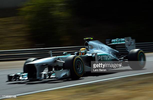 Lewis Hamilton of Great Britain and Mercedes GP drives during qualifying for the Hungarian Formula One Grand Prix at Hungaroring on July 27 2013 in...