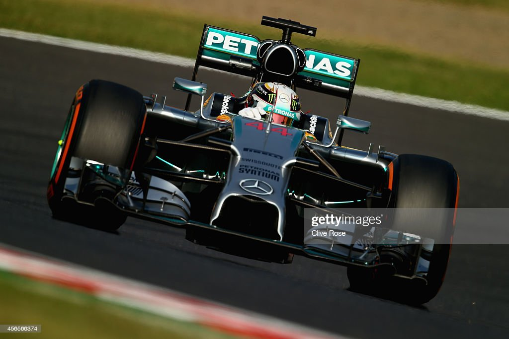 Lewis Hamilton of Great Britain and Mercedes GP drives during practice for the Japanese Formula One Grand Prix at Suzuka Circuit on October 3 2014 in...