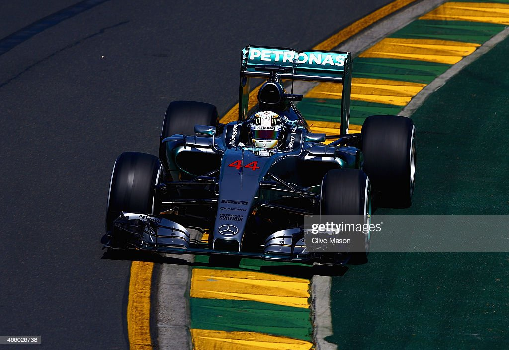 Lewis Hamilton of Great Britain and Mercedes GP drives during practice for the Australian Formula One Grand Prix at Albert Park on March 13, 2015 in Melbourne, Australia.