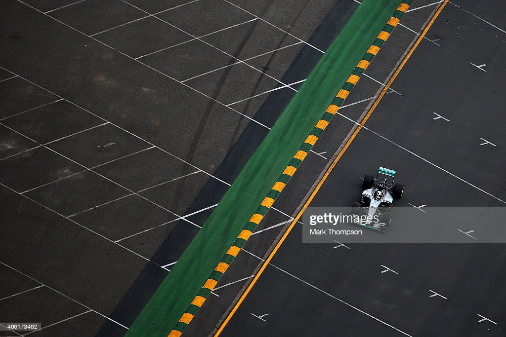 Lewis Hamilton of Great Britain and Mercedes GP drives during qualifying for the Australian Formula One Grand Prix at Albert Park on March 14, 2015 in Melbourne, Australia.