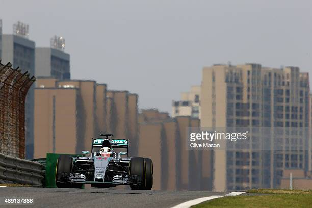 Lewis Hamilton of Great Britain and Mercedes GP drives during practice for the Formula One Grand Prix of China at Shanghai International Circuit on...