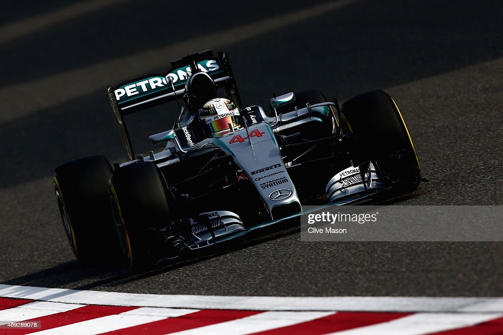 Lewis Hamilton of Great Britain and Mercedes GP drives during qualifying for the Formula One Grand Prix of China at Shanghai International Circuit on...