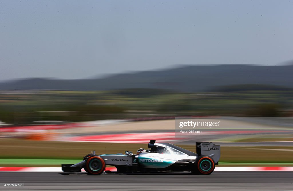 Lewis Hamilton of Great Britain and Mercedes GP drives during qualifying for the Spanish Formula One Grand Prix at Circuit de Catalunya on May 9 2015...
