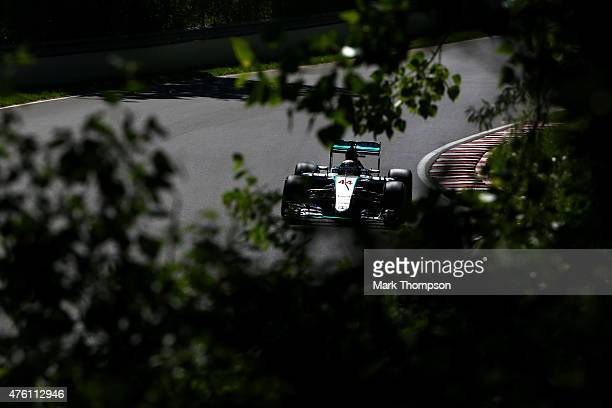 Lewis Hamilton of Great Britain and Mercedes GP drives during qualifying for the Canadian Formula One Grand Prix at Circuit Gilles Villeneuve on June...