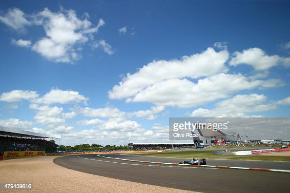 Lewis Hamilton of Great Britain and Mercedes GP drives during qualifying for the Formula One Grand Prix of Great Britain at Silverstone Circuit on...