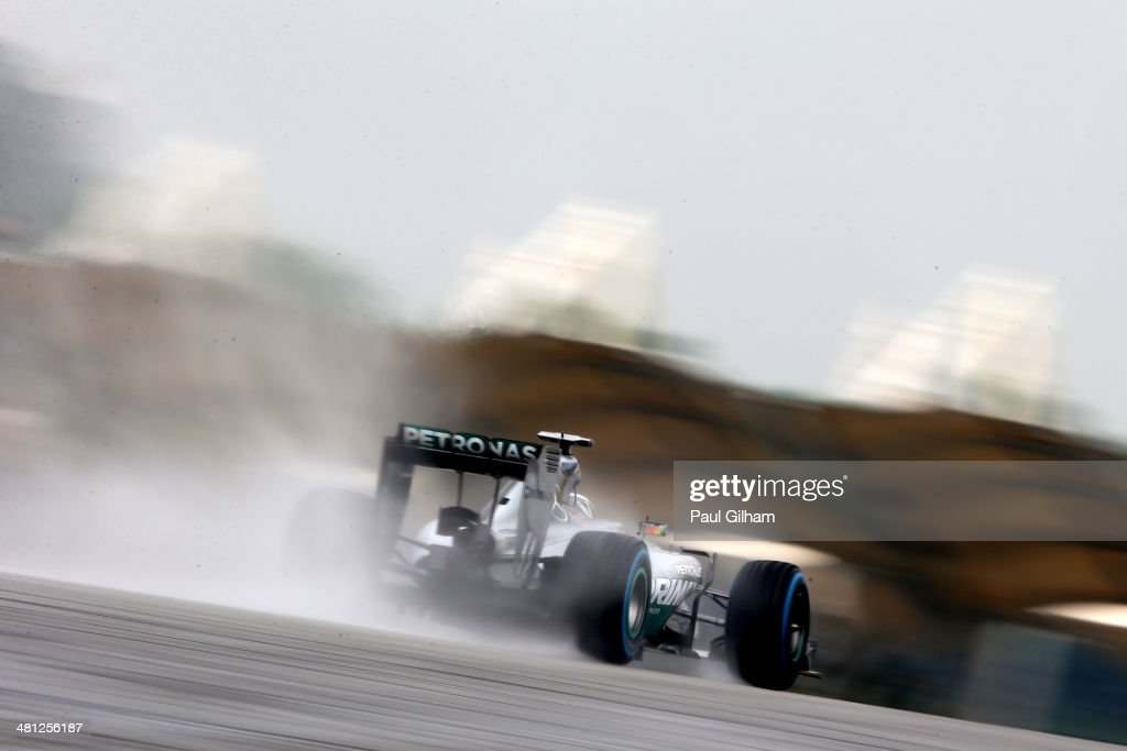 Lewis Hamilton of Great Britain and Mercedes GP drives during qualifying for the Malaysia Formula One Grand Prix at the Sepang Circuit on March 29, 2014 in Kuala Lumpur, Malaysia.