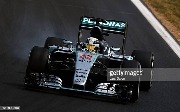 Lewis Hamilton of Great Britain and Mercedes GP drives during qualifying for the Formula One Grand Prix of Hungary at Hungaroring on July 25 2015 in...