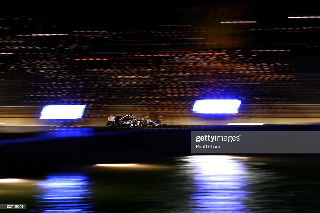 Lewis Hamilton of Great Britain and Mercedes GP drives during practice for the Bahrain Formula One Grand Prix at the Bahrain International Circuit on April 4, 2014 in Sakhir, Bahrain.