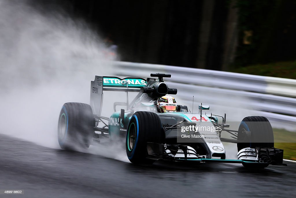 Lewis Hamilton of Great Britain and Mercedes GP drives during practice for the Formula One Grand Prix of Japan at Suzuka Circuit on September 25 2015...