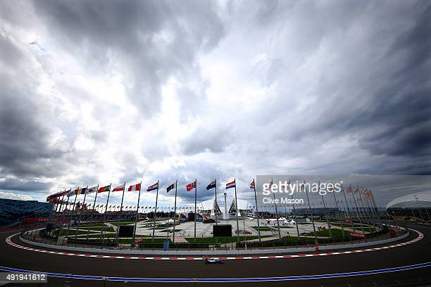 Lewis Hamilton of Great Britain and Mercedes GP drives during practice for the Formula One Grand Prix of Russia at Sochi Autodrom on October 9 2015...