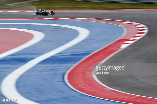 Lewis Hamilton of Great Britain and Mercedes GP drives during practice for the United States Formula One Grand Prix at Circuit of The Americas on...