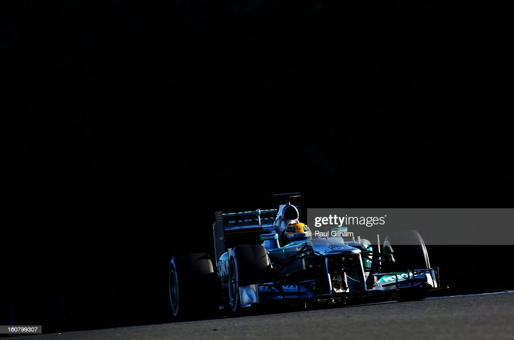 Lewis Hamilton of Great Britain and Mercedes GP drives during Formula One winter testing at Circuito de Jerez on February 6, 2013 in Jerez de la Frontera, Spain.