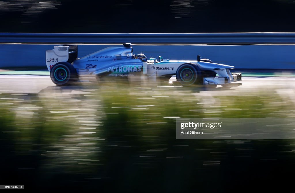 <a gi-track='captionPersonalityLinkClicked' href=/galleries/search?phrase=Lewis+Hamilton&family=editorial&specificpeople=586983 ng-click='$event.stopPropagation()'>Lewis Hamilton</a> of Great Britain and Mercedes GP drives during Formula One winter testing at Circuito de Jerez on February 6, 2013 in Jerez de la Frontera, Spain.