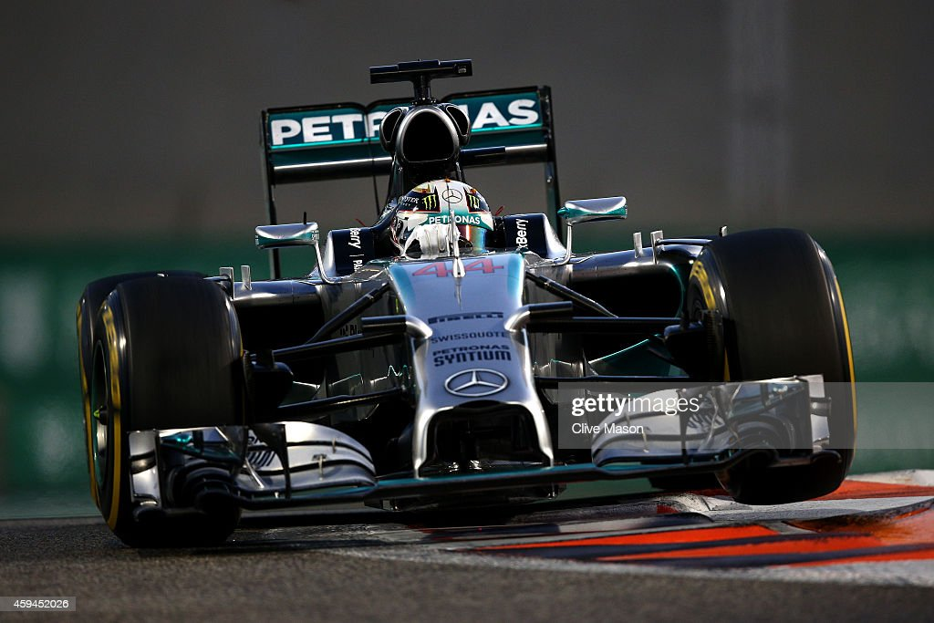 Lewis Hamilton of Great Britain and Mercedes GP drives during the Abu Dhabi Formula One Grand Prix at Yas Marina Circuit on November 23 2014 in Abu...