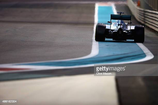 Lewis Hamilton of Great Britain and Mercedes GP drives during the Abu Dhabi Formula One Grand Prix at Yas Marina Circuit on November 29 2015 in Abu...