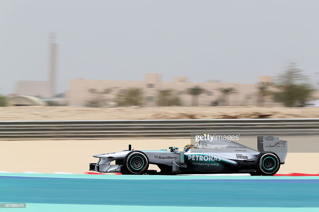 Lewis Hamilton of Great Britain and Mercedes GP drives during the final practice session prior to qualifying for the Bahrain Formula One Grand Prix at the Bahrain International Circuit on April 20, 2013 in Sakhir, Bahrain.