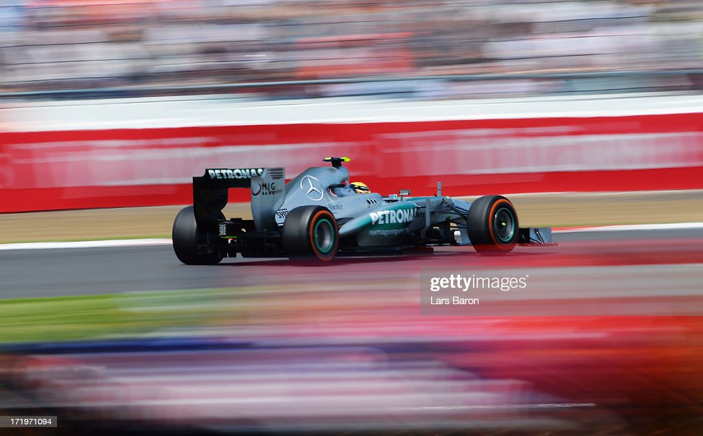 <a gi-track='captionPersonalityLinkClicked' href=/galleries/search?phrase=Lewis+Hamilton+-+Racecar+Driver&family=editorial&specificpeople=586983 ng-click='$event.stopPropagation()'>Lewis Hamilton</a> of Great Britain and Mercedes GP drives during the British Formula One Grand Prix at Silverstone Circuit on June 30, 2013 in Northampton, England.