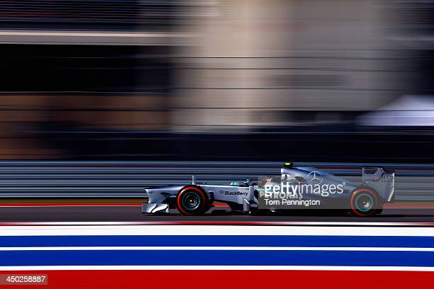Lewis Hamilton of Great Britain and Mercedes GP drives during the United States Formula One Grand Prix at Circuit of The Americas on November 17 2013...