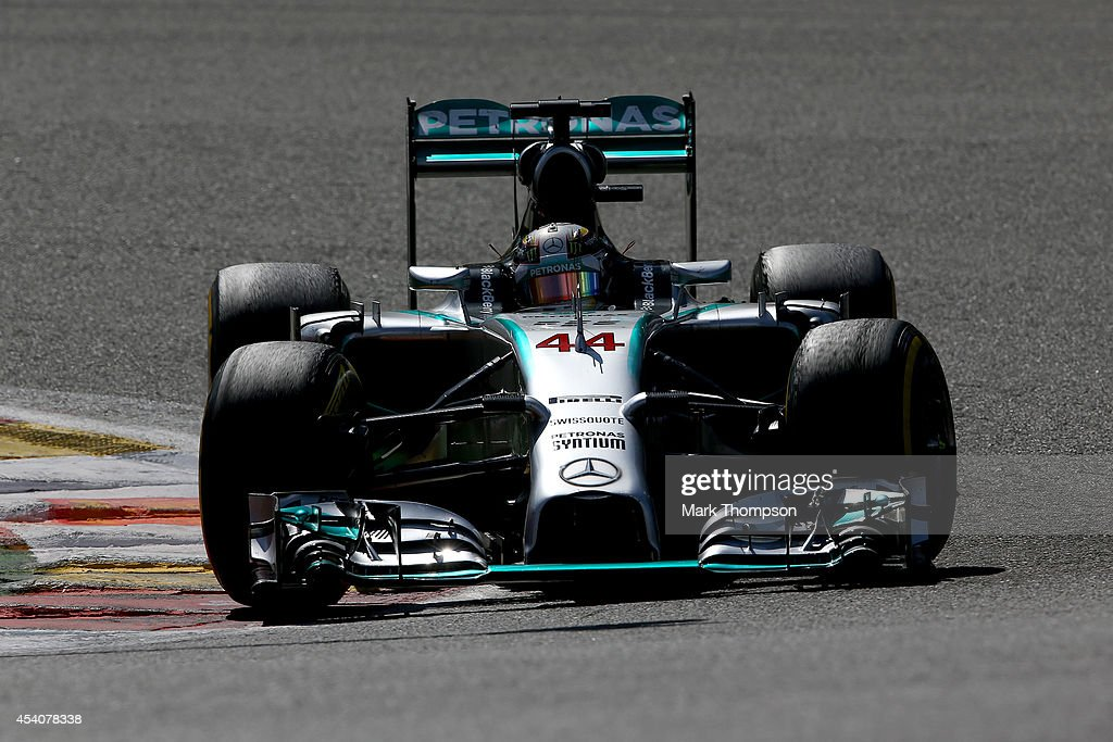 Lewis Hamilton of Great Britain and Mercedes GP drives during the Belgian Grand Prix at Circuit de Spa-Francorchamps on August 24, 2014 in Spa, Belgium.