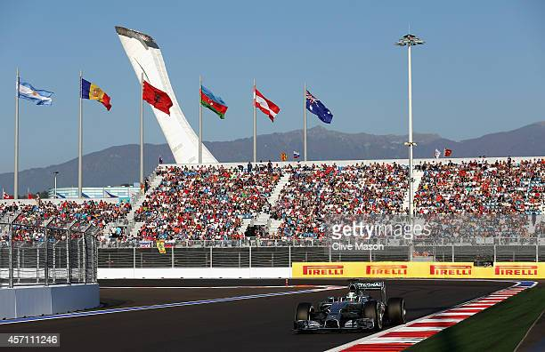 Lewis Hamilton of Great Britain and Mercedes GP drives during the Russian Formula One Grand Prix at Sochi Autodrom on October 12 2014 in Sochi Russia