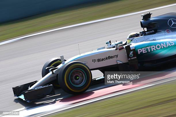 Lewis Hamilton of Great Britain and Mercedes GP drives during the Formula One Grand Prix of China at Shanghai International Circuit on April 12 2015...