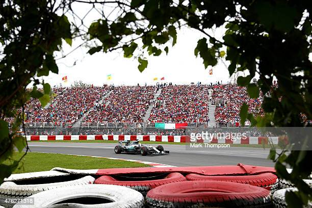 Lewis Hamilton of Great Britain and Mercedes GP drives during the Canadian Formula One Grand Prix at Circuit Gilles Villeneuve on June 7 2015 in...