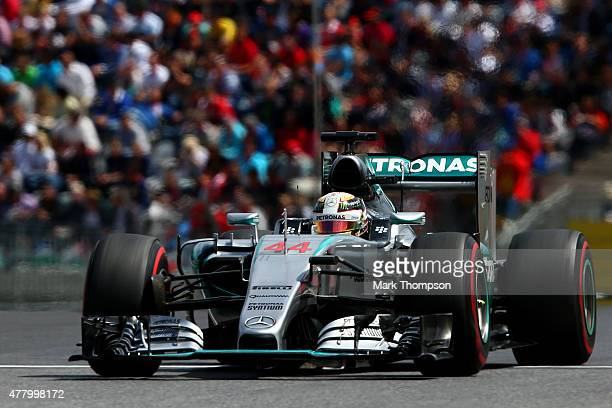 Lewis Hamilton of Great Britain and Mercedes GP drives during the Formula One Grand Prix of Austria at Red Bull Ring on June 21 2015 in Spielberg...
