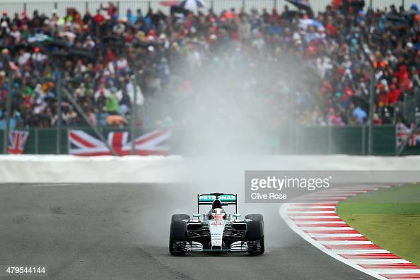 Lewis Hamilton of Great Britain and Mercedes GP drives during the final laps of the Formula One Grand Prix of Great Britain at Silverstone Circuit on...