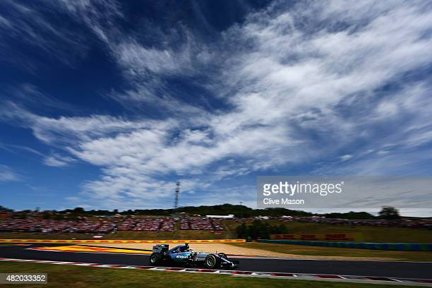 Lewis Hamilton of Great Britain and Mercedes GP drives during the Formula One Grand Prix of Hungary at Hungaroring on July 26 2015 in Budapest Hungary