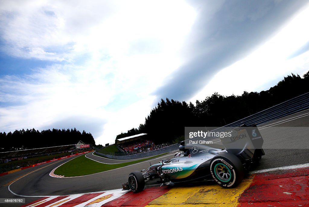 Lewis Hamilton of Great Britain and Mercedes GP drives during the Formula One Grand Prix of Belgium at Circuit de SpaFrancorchamps on August 23 2015...