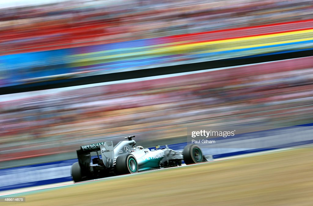 <a gi-track='captionPersonalityLinkClicked' href=/galleries/search?phrase=Lewis+Hamilton+-+Racecar+Driver&family=editorial&specificpeople=586983 ng-click='$event.stopPropagation()'>Lewis Hamilton</a> of Great Britain and Mercedes GP drives during the Spanish Formula One Grand Prix at Circuit de Catalunya on May 11, 2014 in Montmelo, Spain.