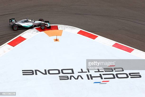 Lewis Hamilton of Great Britain and Mercedes GP drives during the Formula One Grand Prix of Russia at Sochi Autodrom on October 11 2015 in Sochi...