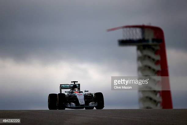 Lewis Hamilton of Great Britain and Mercedes GP drives during the United States Formula One Grand Prix at Circuit of The Americas on October 25 2015...