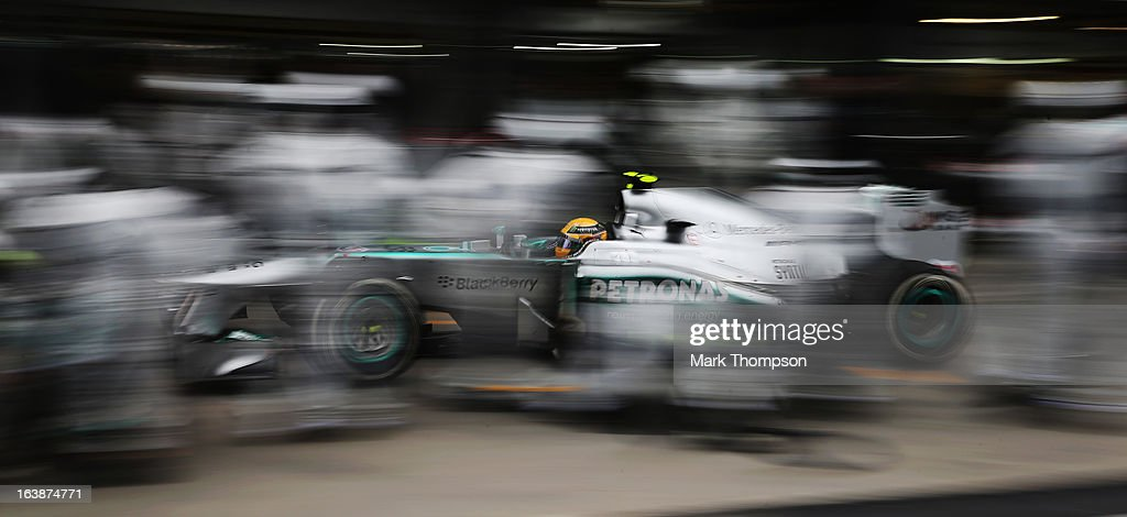 Lewis Hamilton of Great Britain and Mercedes GP drives in for a pitstop during the Australian Formula One Grand Prix at the Albert Park Circuit on March 17, 2013 in Melbourne, Australia.