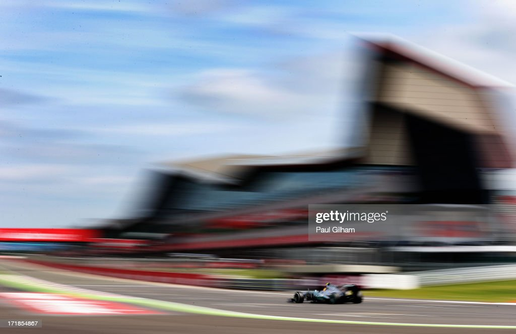 <a gi-track='captionPersonalityLinkClicked' href=/galleries/search?phrase=Lewis+Hamilton&family=editorial&specificpeople=586983 ng-click='$event.stopPropagation()'>Lewis Hamilton</a> of Great Britain and Mercedes GP drives on his way to finishing first during qualifying for the British Formula One Grand Prix at Silverstone Circuit on June 29, 2013 in Northampton, England.