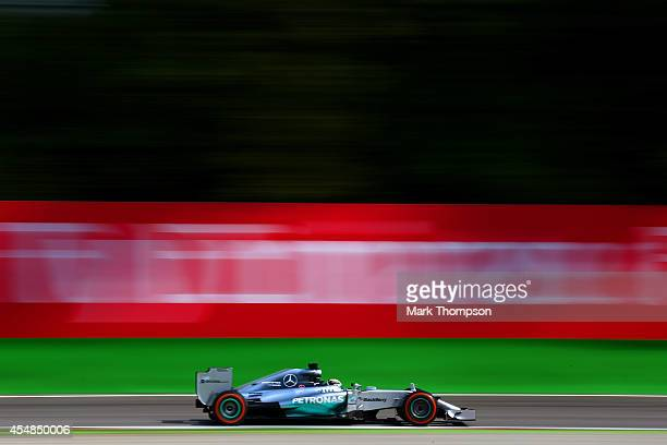 Lewis Hamilton of Great Britain and Mercedes GP drives the F1 Grand Prix of Italy at Autodromo di Monza on September 7 2014 in Monza Italy
