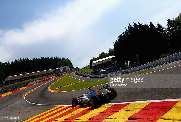Lewis Hamilton of Great Britain and Mercedes GP drives thru Eau Rouge during practice for the Belgian Grand Prix at Circuit de SpaFrancorchamps on...