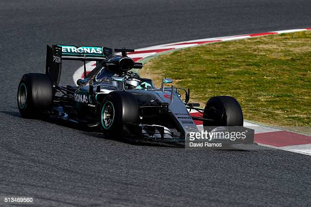 Lewis Hamilton of Great Britain and Mercedes GP during day three of F1 winter testing at Circuit de Catalunya on March 3 2016 in Montmelo Spain