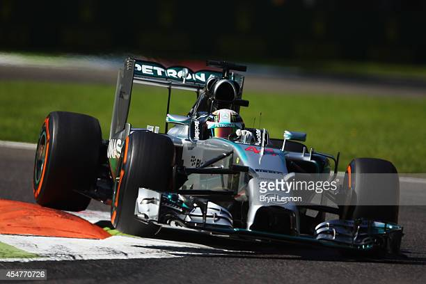 Lewis Hamilton of Great Britain and Mercedes GP during Practice ahead of the F1 Grand Prix of Italy at Autodromo di Monza on September 6 2014 in...