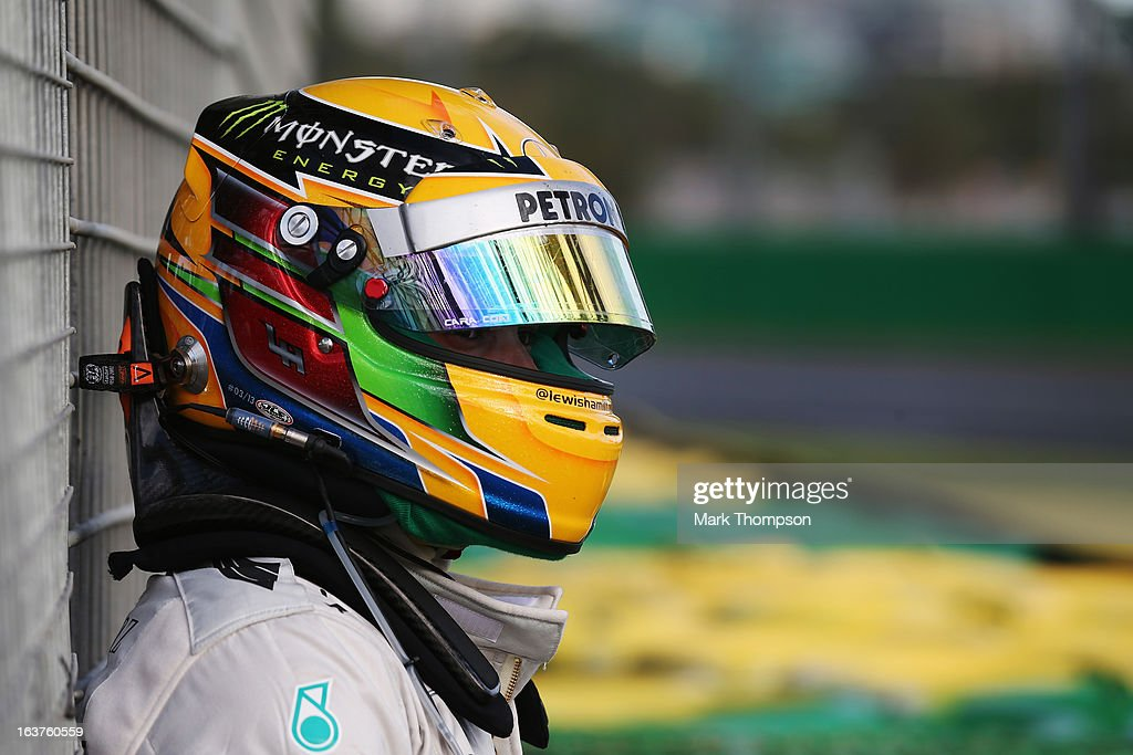 <a gi-track='captionPersonalityLinkClicked' href=/galleries/search?phrase=Lewis+Hamilton+-+Racecar+Driver&family=editorial&specificpeople=586983 ng-click='$event.stopPropagation()'>Lewis Hamilton</a> of Great Britain and Mercedes GP goes off into the gravel and retires early during practice for the Australian Formula One Grand Prix at the Albert Park Circuit on March 15, 2013 in Melbourne, Australia.