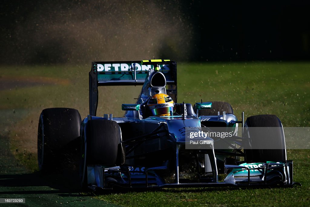 <a gi-track='captionPersonalityLinkClicked' href=/galleries/search?phrase=Lewis+Hamilton+-+Racecar+Driver&family=editorial&specificpeople=586983 ng-click='$event.stopPropagation()'>Lewis Hamilton</a> of Great Britain and Mercedes GP goes offline as he drives during practice for the Australian Formula One Grand Prix at the Albert Park Circuit on March 15, 2013 in Melbourne, Australia.