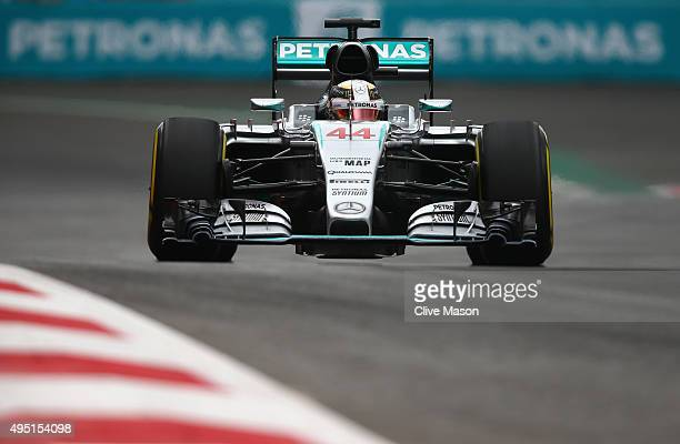 Lewis Hamilton of Great Britain and Mercedes GP in action during qualifying for the Formula One Grand Prix of Mexico at Autodromo Hermanos Rodriguez...