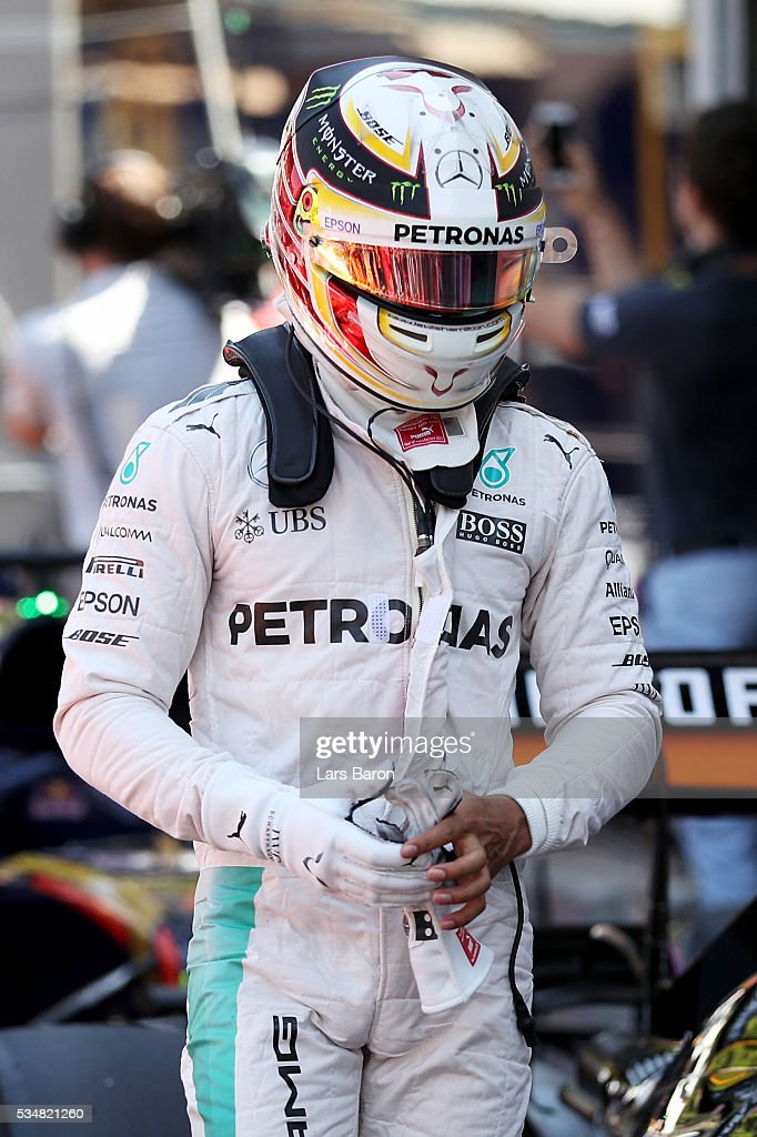 <a gi-track='captionPersonalityLinkClicked' href=/galleries/search?phrase=Lewis+Hamilton+-+Racecar+Driver&family=editorial&specificpeople=586983 ng-click='$event.stopPropagation()'>Lewis Hamilton</a> of Great Britain and Mercedes GP in parc ferme during qualifying for the Monaco Formula One Grand Prix at Circuit de Monaco on May 28, 2016 in Monte-Carlo, Monaco.