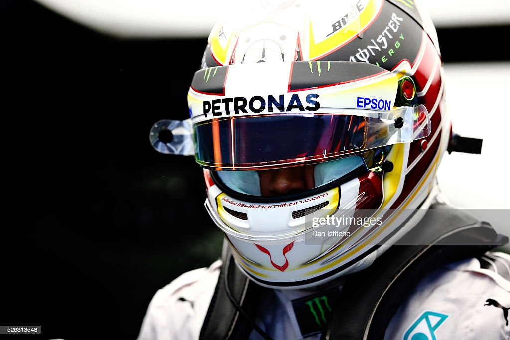 <a gi-track='captionPersonalityLinkClicked' href=/galleries/search?phrase=Lewis+Hamilton&family=editorial&specificpeople=586983 ng-click='$event.stopPropagation()'>Lewis Hamilton</a> of Great Britain and Mercedes GP in the garage during final practice ahead of the Formula One Grand Prix of Russia at Sochi Autodrom on April 30, 2016 in Sochi, Russia.